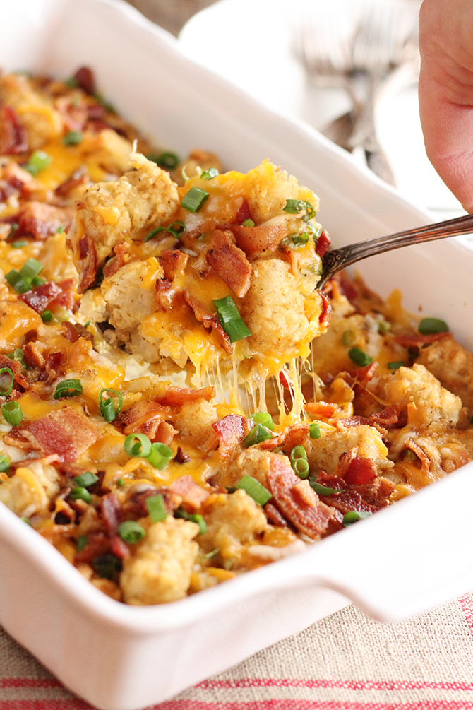 Bacon & Eggs Tater Tot Casserole - Southern Bite