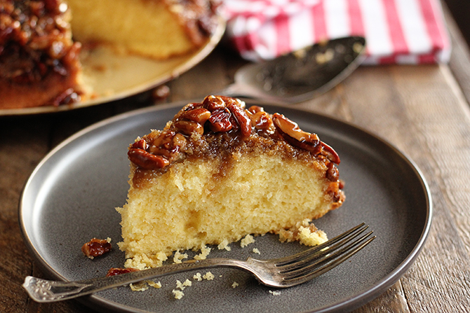 No one will believe that this recipe for Caramel Pecan Upside-Down Cake started with a boxed cake mix!