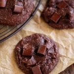 Fudgy Brownie Cookies on brown paper