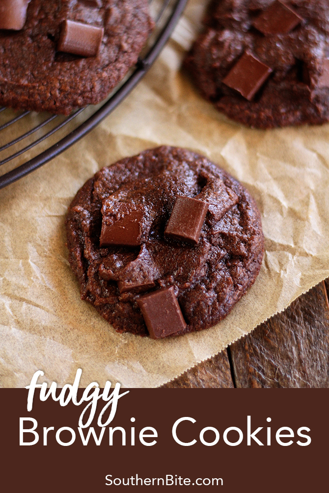 These thick and Fudgy Brownie Cookies are sure to be a hit no matter where you serve them! And they're so super easy!