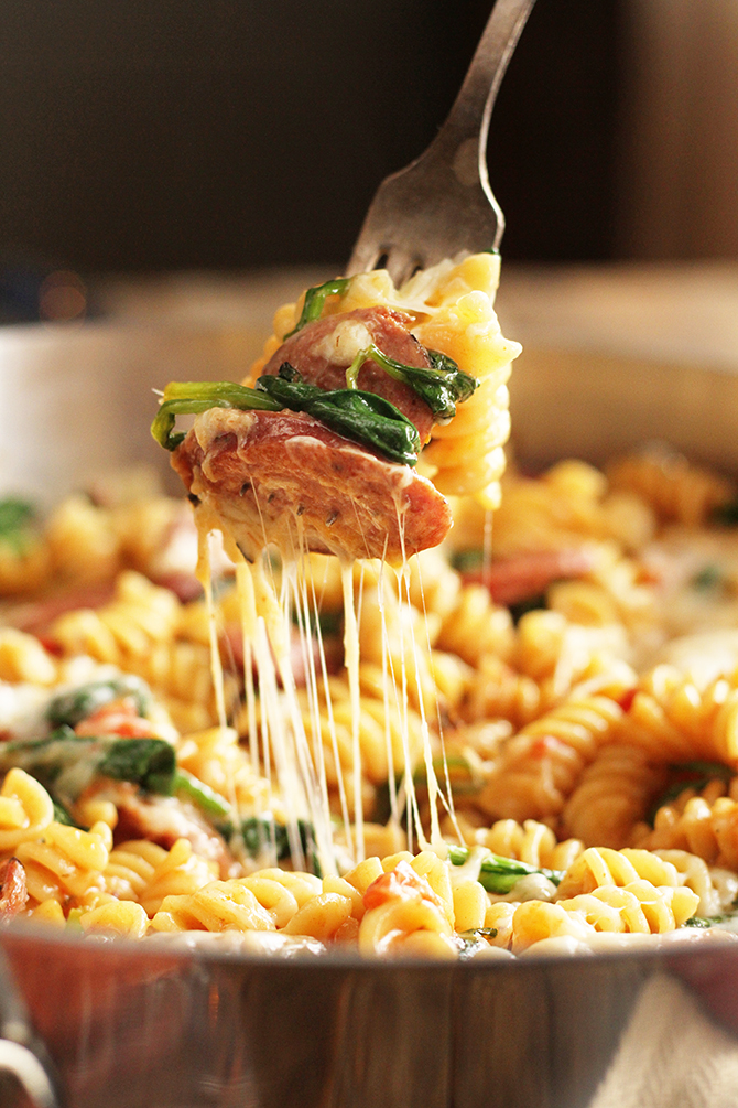 Simple One Pan Sausage Pasta being served with fork