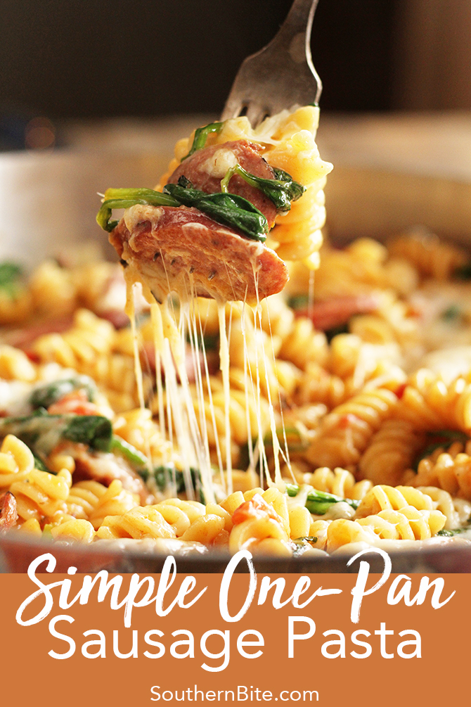 This Simple One-Pan Sausage Pasta recipe is a delicious complete meal that all cooks in one skillet - pasta and all!