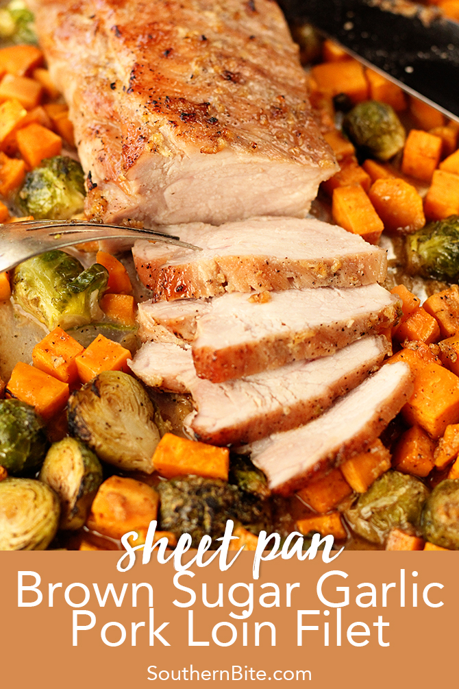 This easy recipe for Sheet Pan Brown Sugar Garlic Pork Loin Filet has your entire dinner cooked right on one pan! Tons of flavor and fewer dishes to wash! It's a win-win!