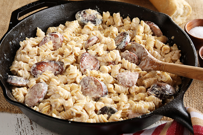 This recipe for Weeknight Sausage Alfredo is quick, easy, and is the perfect dinner for a busy weeknight!