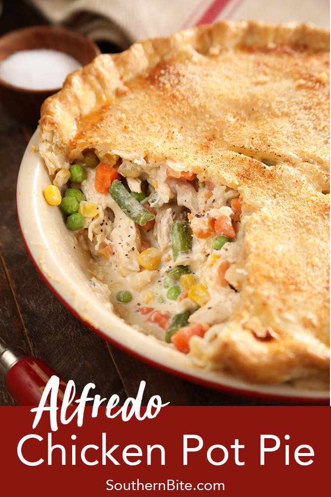 This recipe for Alfredo Chicken Pot Pie replaces the classic sauce with a jarred alfredo sauce and uses a rotisserie chicken. It's quick, easy and can be made with as few as 4 ingredients!