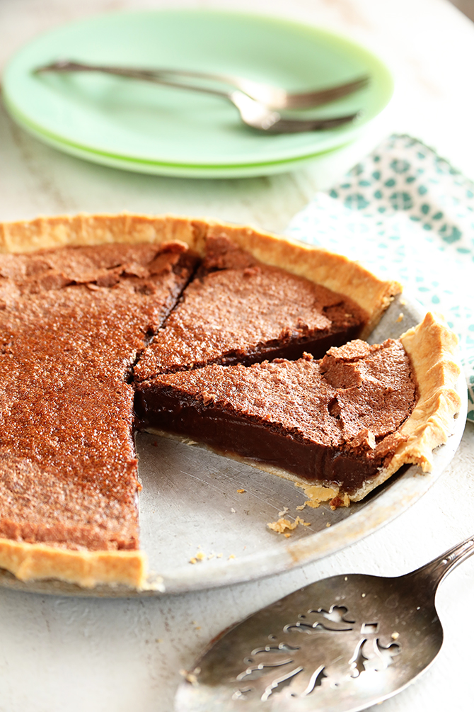 Chocolate Chess Pie sliced in pan