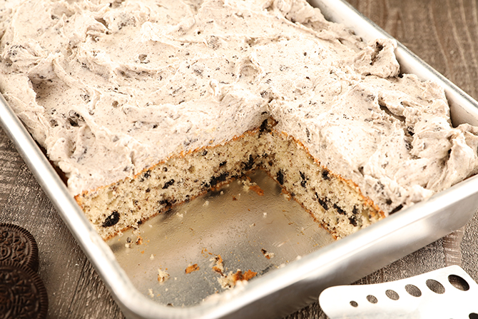 Cookies and Cream Sheet Cake with slices removed