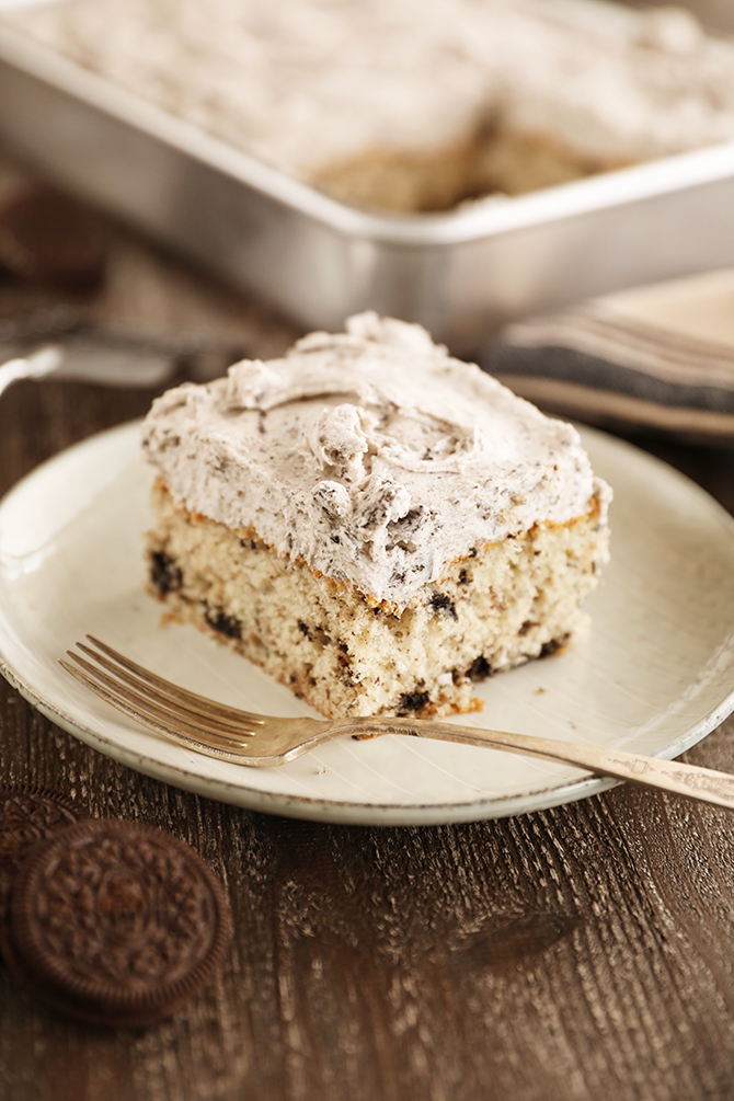 Slice of Cookies and Cream Sheet Cake