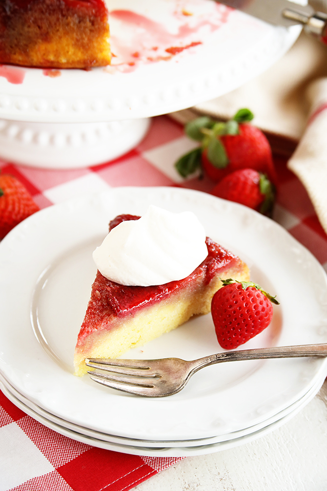 This recipe for Strawberry Upside Down Cake starts with a cake mix so that it's quick and easy but it turns into something amazing!