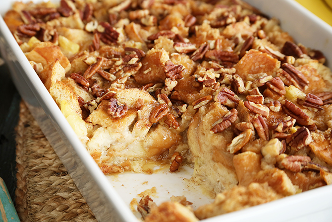 This easy Hummingbird Bread Pudding with Salted Caramel Sauce recipe has all the flavor of the classic Southern Hummingbird Cake, but in ooey, gooey bread pudding form!
