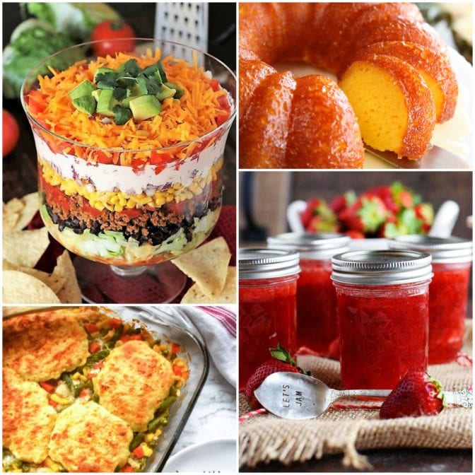 Meal Plan Monday featured recipe collage of jam, layered salad, cake, and meat and veggie casserole