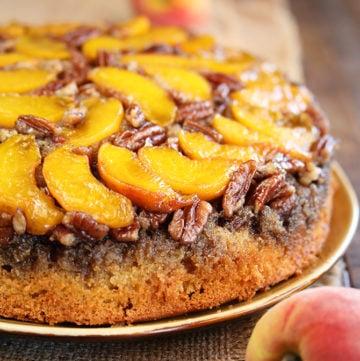 Peach Pecan Upside Down Cake
