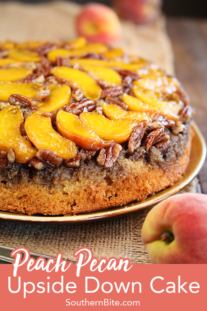 This recipe for Peach Pecan Upside Down Cake starts with a boxed cake mix, but is transformed into something amazingly delicious! It's the perfect spring and summer dessert for nearly any occasion!