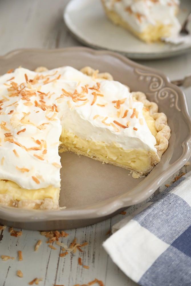Coconut Cream Pie with missing slice