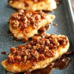Honey Garlic Pecan chicken on baking pan