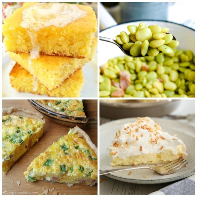 meal plan Monday collage of cornbread, quiche beans, and pie