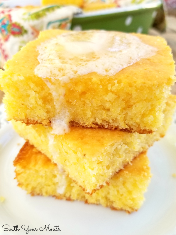 cornbread stacked up with melted butter