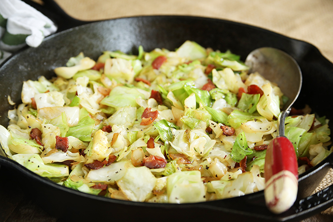 This classic recipe for Southern Fried Cabbage is a family favorite and is the perfect side dish for nearly any menu! And there's bacon!