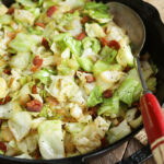 Southern fried cabbage in cast iron skillet