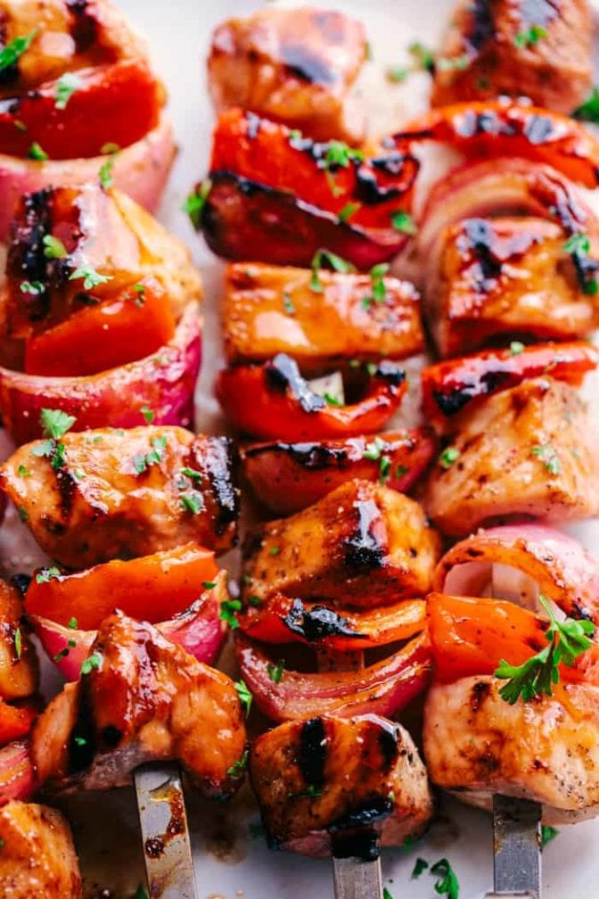 Cooked sweet and sour pork kobobs