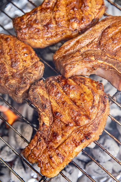 Steak house pork chops on grill