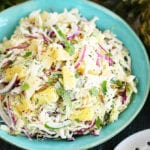 Pineapple slaw in serving bowl closer photo