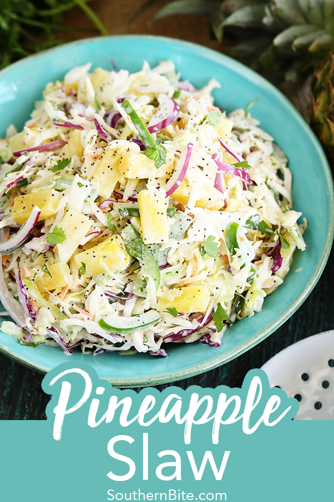 This Pineapple Slaw is the perfect cool and crisp side dish recipe for all your summer bbq and potlucks! The tropical flavors pair well with grilled meats and just about anything else! Plus, it's pretty quick and easy to put together!