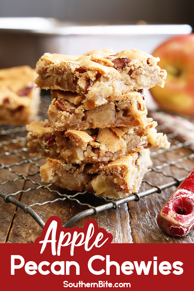 This recipe for Apple Pecan Chewies is fall-flavored pecan blondie perfection. They're super easy and have tons of spice and caramel flavor packed in.