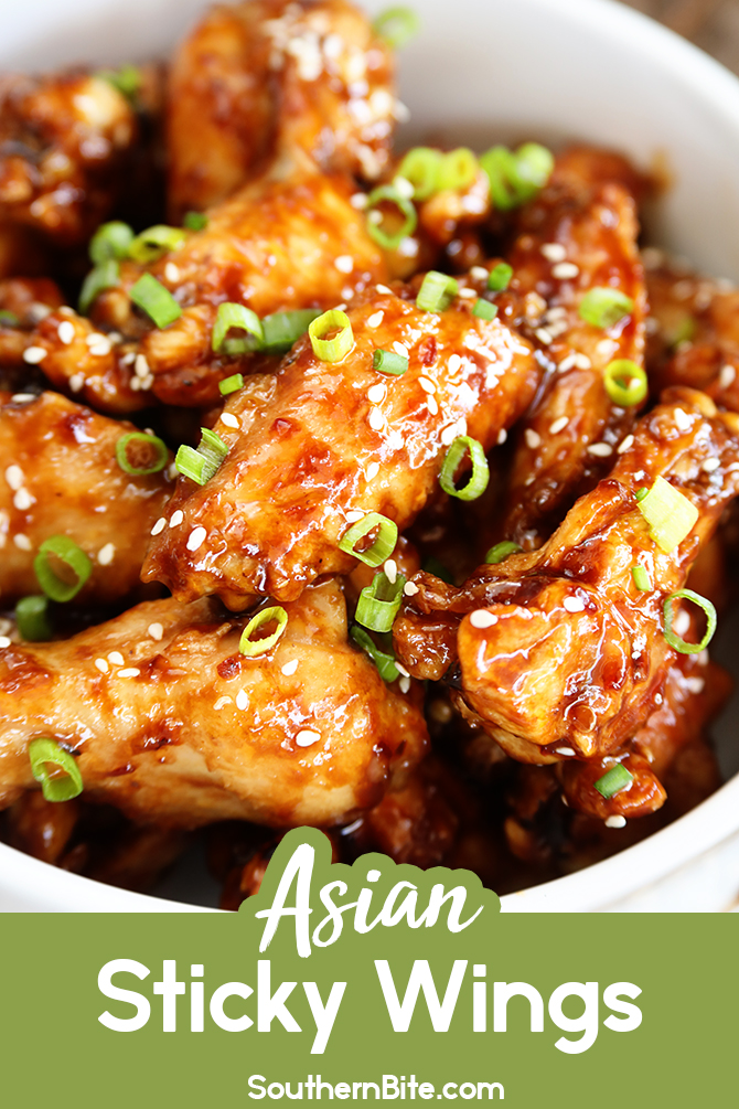 These Asian Sticky Wings are the perfect appetizer and football food! Hoisin sauce, garlic chili sauce, ginger, and garlic combine to make the most amazing wing sauce recipe!