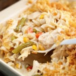 Family Favorite Chicken Noodle Casserole in baking dish