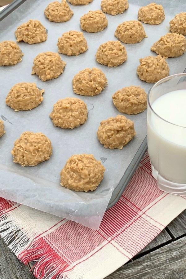 no bake peanut butter cookies on a baking sheet
