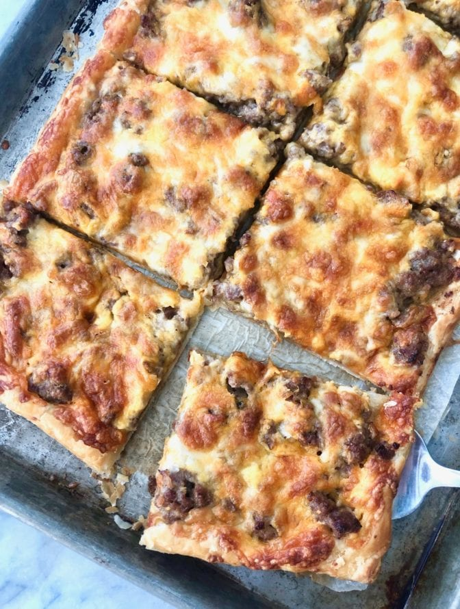 sausage cheese bake sliced into squares