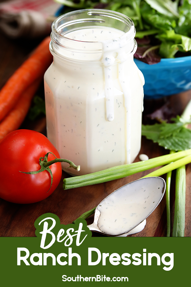 Tart, tangy, garlicky, and super savory are all words that I'd use the describe this homemade Ranch Dressing recipe! It's quick, easy, and is seriously the best ranch I've ever had! It's perfect for dipping nearly anything and pouring over your favorite salad!