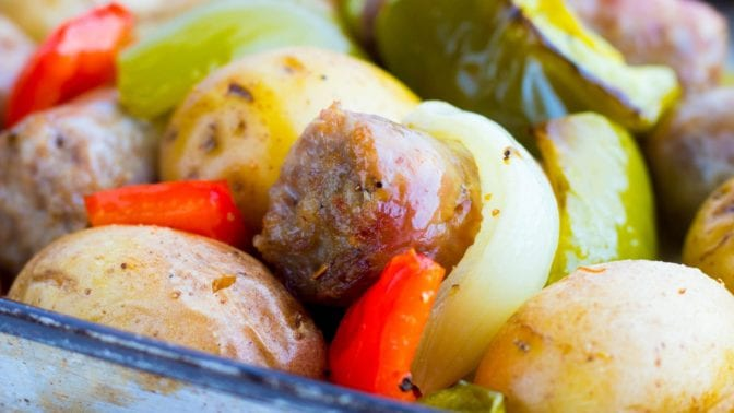 one pan sausage peppers onions and potatoes