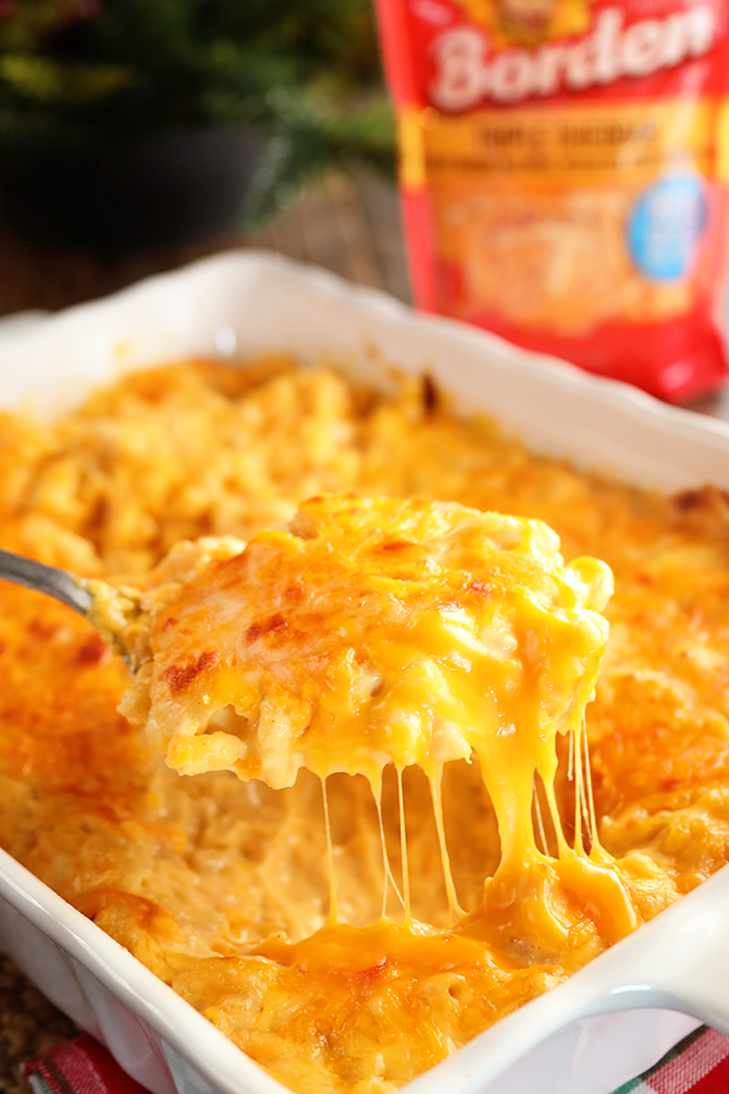 Cheesiest Mac and Cheese being spooned out