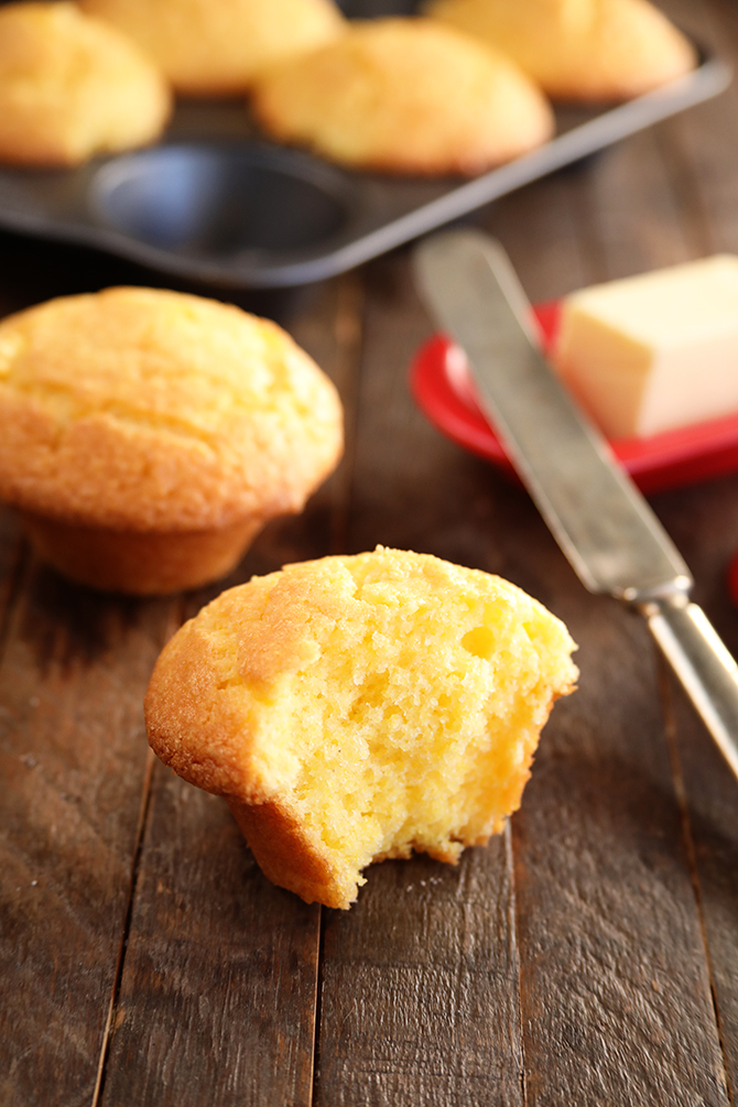 Jazzed Up Jiffy Cornbread Muffins with butter