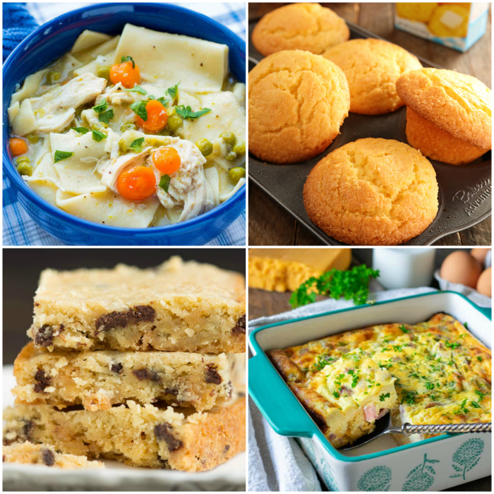 Meal Plan Monday collage of 4 recipes - dumplings, cornbread, cookie bars, and a casserole