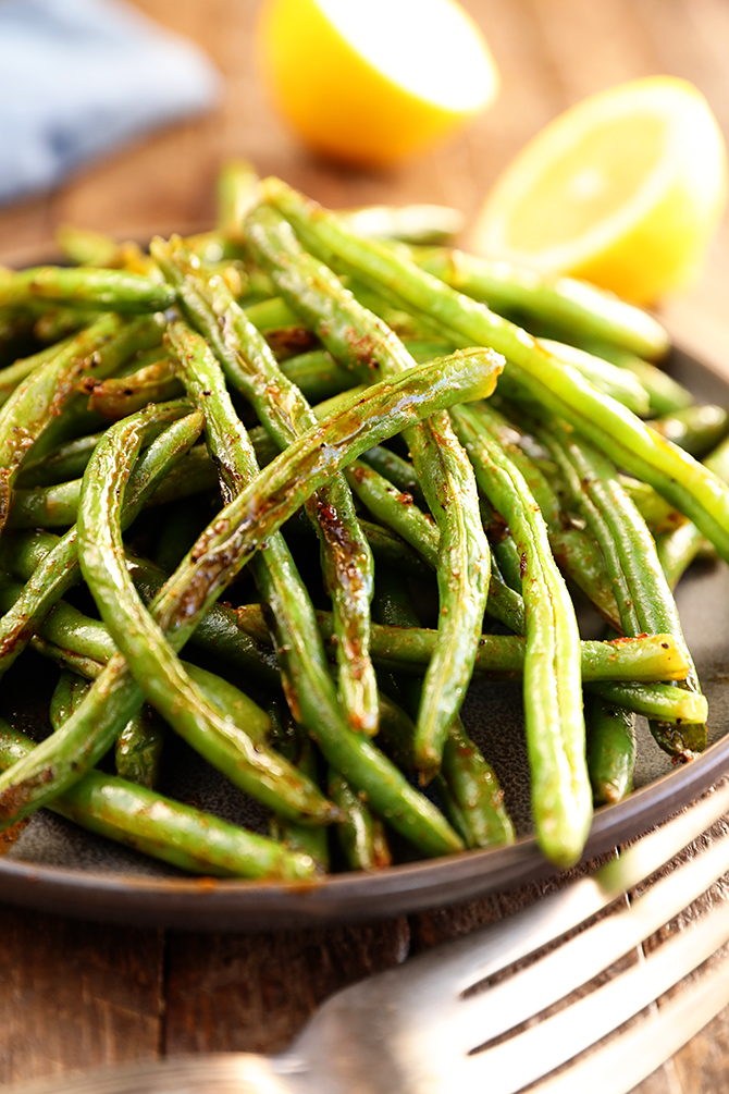 Close shot of Roasted Green Beans