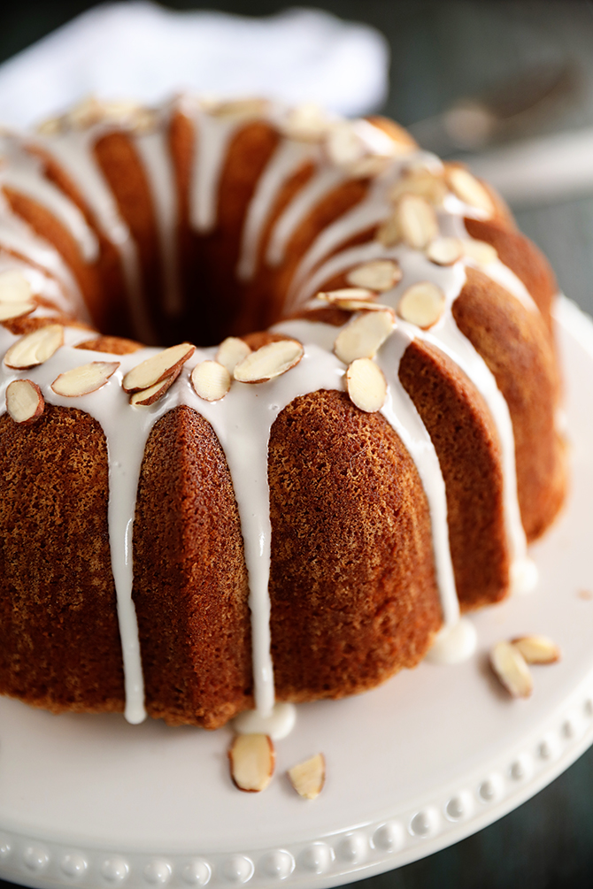 Almond Pound Cake with glaze