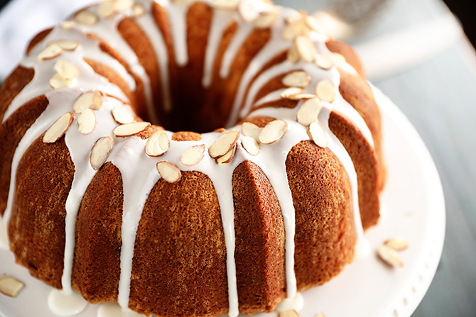 Almond Pound Cake with glaze and Almonds
