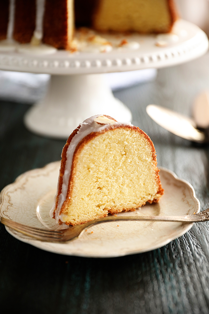 Slice of Almond Pound Cake with fork
