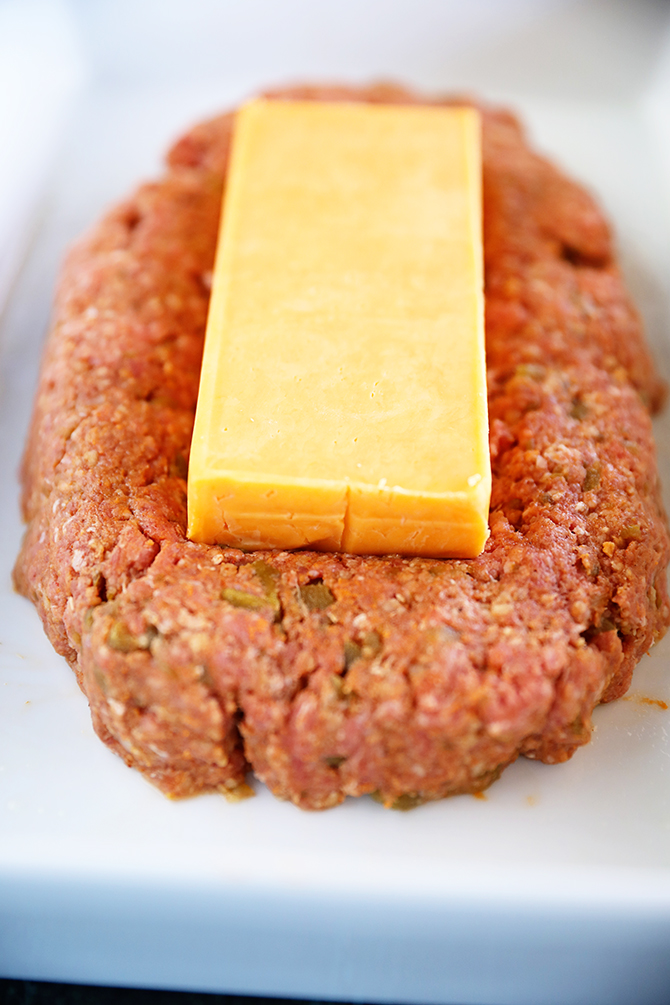 Cheese on top of raw meatloaf