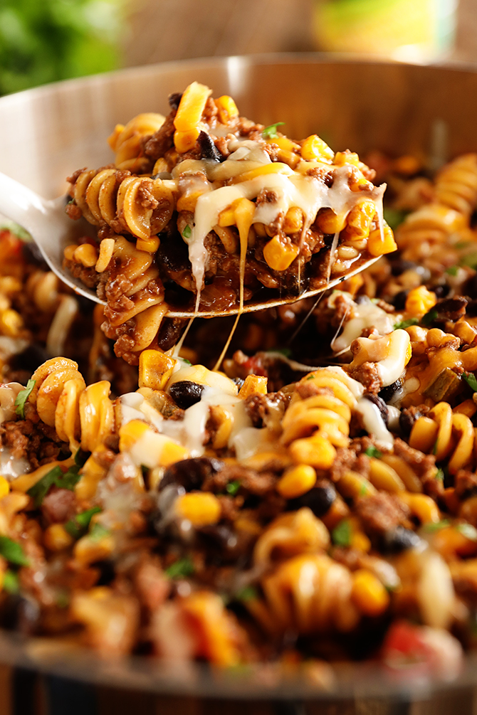 One Pan Taco Pasta served with spoon