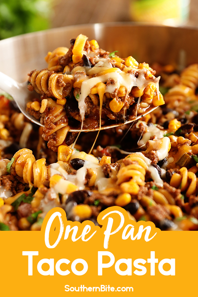 One Pan Taco Pasta for Pinterest