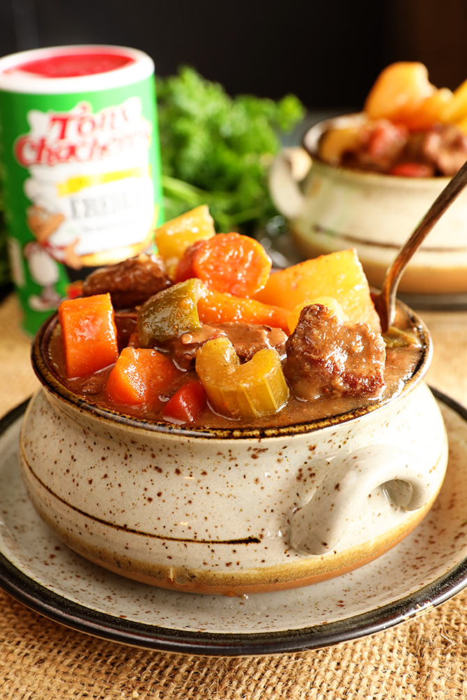 Bowl of Slow Cooker Creole Beef Stew