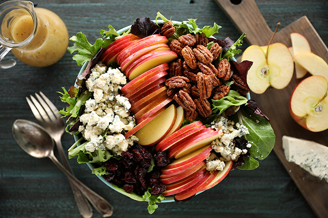 Apple Pecan salad with dressing on the side