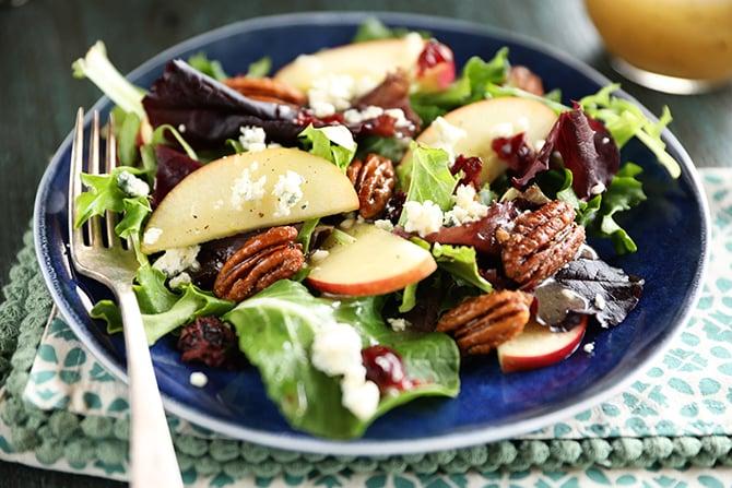 Apple Pecan Salad with dressing