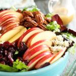 Apple Pecan salad in blue bowl