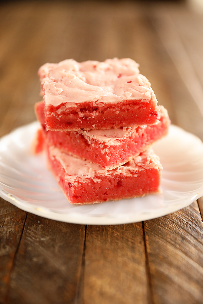 Stacked Strawberry Brownies on white plate