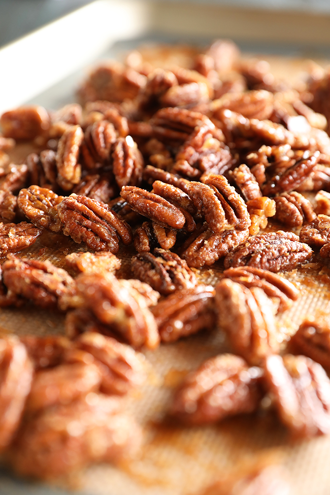 Candied Pecans on wooden server